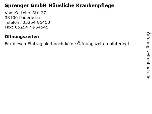 Sprenger GmbH Häusliche Krankenpflege in Paderborn: Adresse und Öffnungszeiten