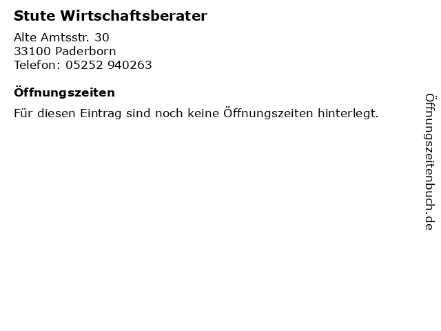 Stute Wirtschaftsberater in Paderborn: Adresse und Öffnungszeiten