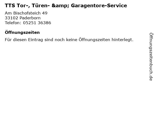 TTS Tor-, Türen- & Garagentore-Service in Paderborn: Adresse und Öffnungszeiten