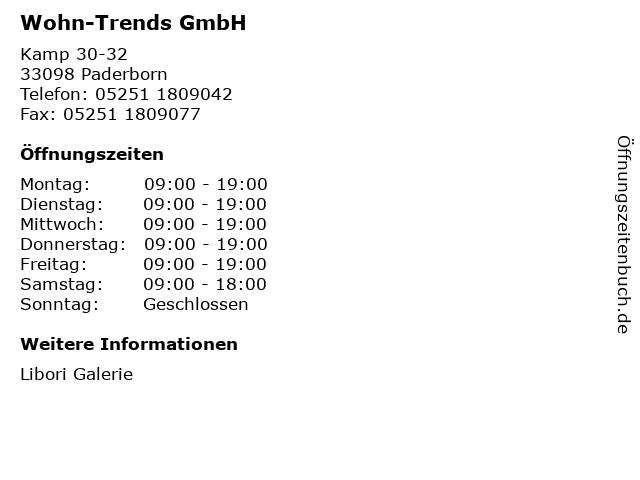 Wohn-Trends GmbH in Paderborn: Adresse und Öffnungszeiten