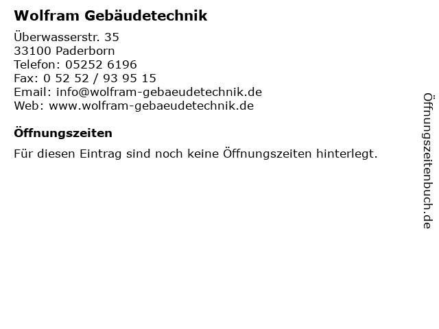 Wolfram Gebäudetechnik in Paderborn: Adresse und Öffnungszeiten
