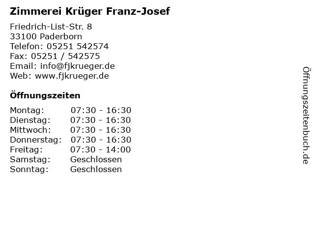 Zimmerei Krüger Franz-Josef in Paderborn: Adresse und Öffnungszeiten
