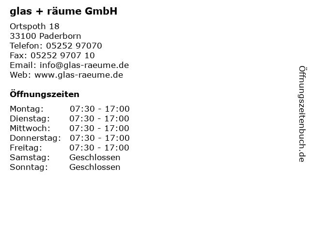 glas + räume GmbH in Paderborn: Adresse und Öffnungszeiten