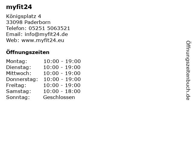 myfit24 in Paderborn: Adresse und Öffnungszeiten