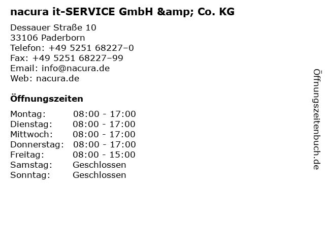 nacura it-SERVICE GmbH & Co. KG in Paderborn: Adresse und Öffnungszeiten