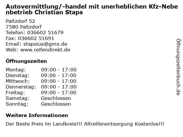 Autovermittlung/-handel mit unerheblichen Kfz-Nebenbetrieb Christian Staps in Paitzdorf: Adresse und Öffnungszeiten