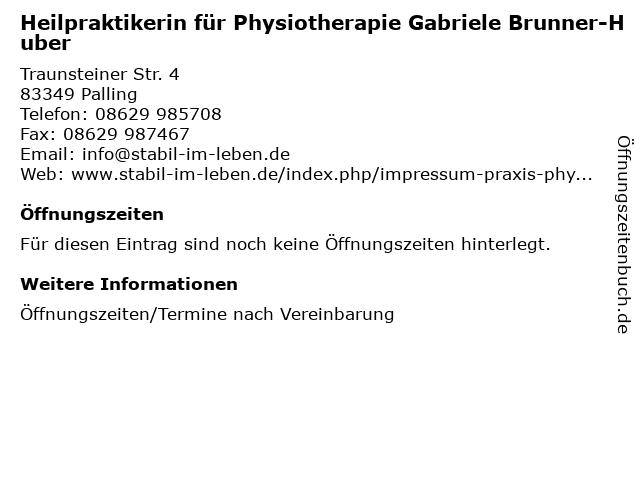 Heilpraktikerin für Physiotherapie Gabriele Brunner-Huber in Palling: Adresse und Öffnungszeiten