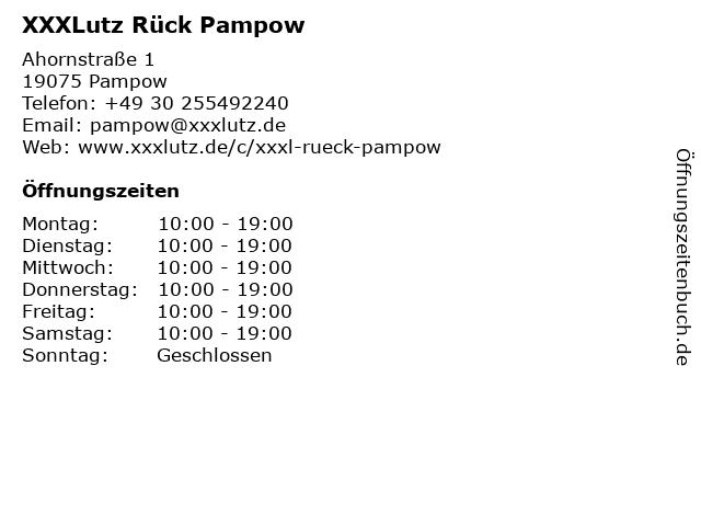 ᐅ öffnungszeiten Xxxlutz Rück Pampow Ahornstraße 1 In Pampow