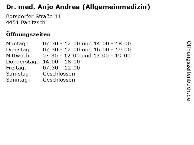 Dr. med. Anjo Andrea (Allgemeinmedizin) in Panitzsch: Adresse und Öffnungszeiten