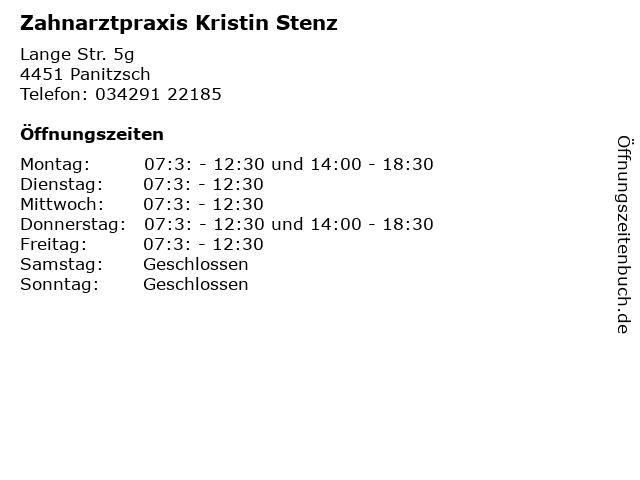 Zahnarztpraxis Kristin Stenz in Panitzsch: Adresse und Öffnungszeiten