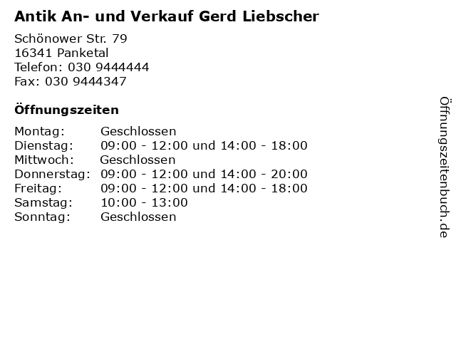 Antik An- und Verkauf Gerd Liebscher in Panketal: Adresse und Öffnungszeiten