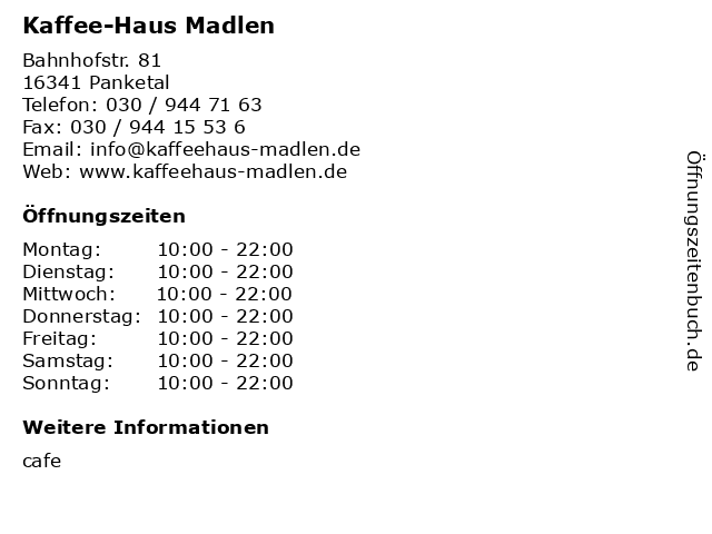 Kaffee-Haus Madlen in Panketal: Adresse und Öffnungszeiten