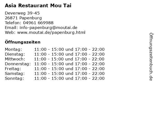 Asia Restaurant Moli Tai in Papenburg: Adresse und Öffnungszeiten
