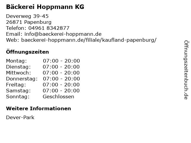 Bäckerei Hoppmann KG in Papenburg: Adresse und Öffnungszeiten