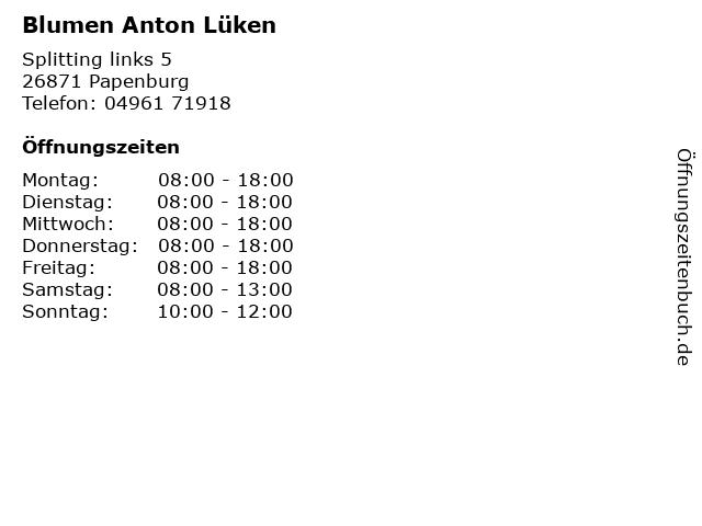 Blumen Anton Lüken in Papenburg: Adresse und Öffnungszeiten