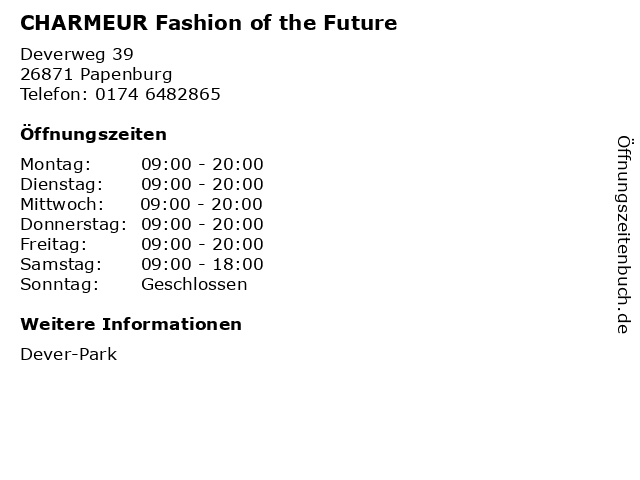 CHARMEUR Fashion of the Future in Papenburg: Adresse und Öffnungszeiten