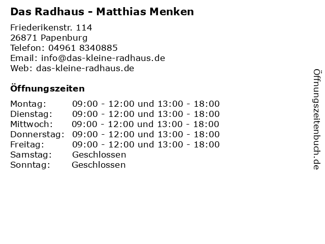 Das Radhaus - Matthias Menken in Papenburg: Adresse und Öffnungszeiten