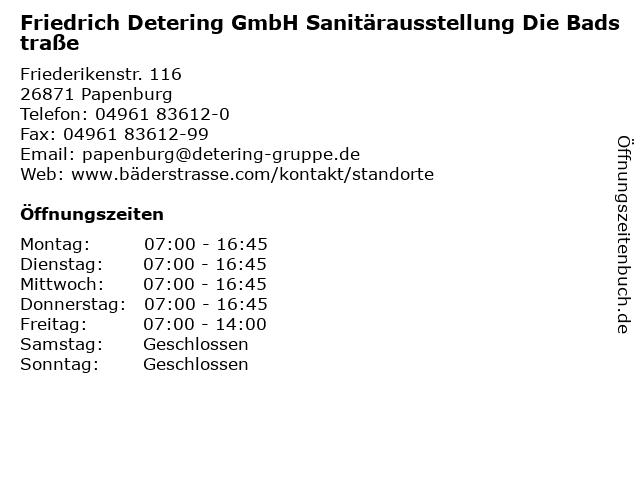 Friedrich Detering GmbH Sanitärausstellung Die Badstraße in Papenburg: Adresse und Öffnungszeiten