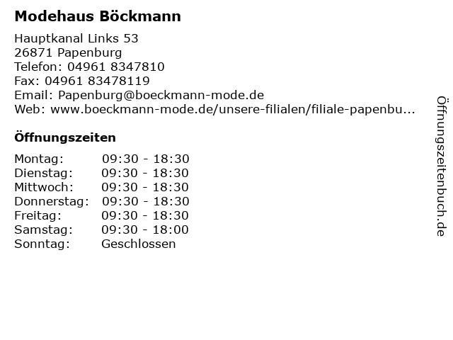 Modehaus Böckmann in Papenburg: Adresse und Öffnungszeiten