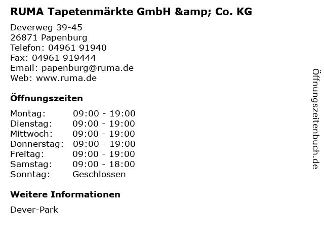RUMA Tapetenmärkte GmbH & Co. KG in Papenburg: Adresse und Öffnungszeiten