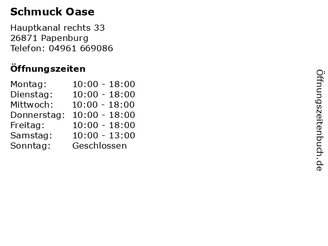 Schmuck Oase in Papenburg: Adresse und Öffnungszeiten