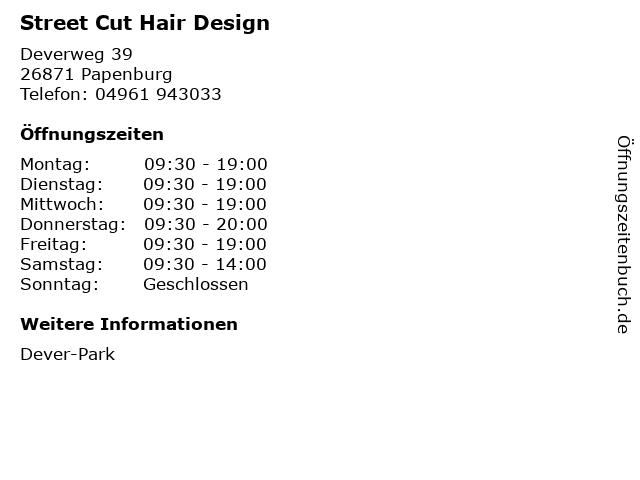 Street Cut Hair Design in Papenburg: Adresse und Öffnungszeiten