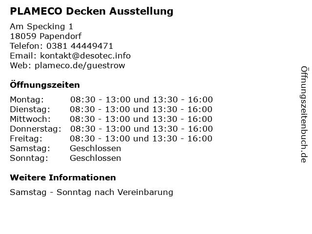 PLAMECO Decken Ausstellung in Papendorf: Adresse und Öffnungszeiten