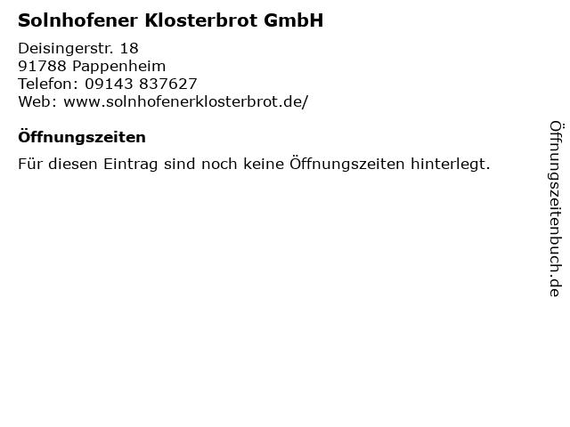 Solnhofener Klosterbrot GmbH in Pappenheim: Adresse und Öffnungszeiten