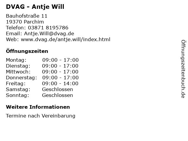 DVAG - Antje Will in Parchim: Adresse und Öffnungszeiten