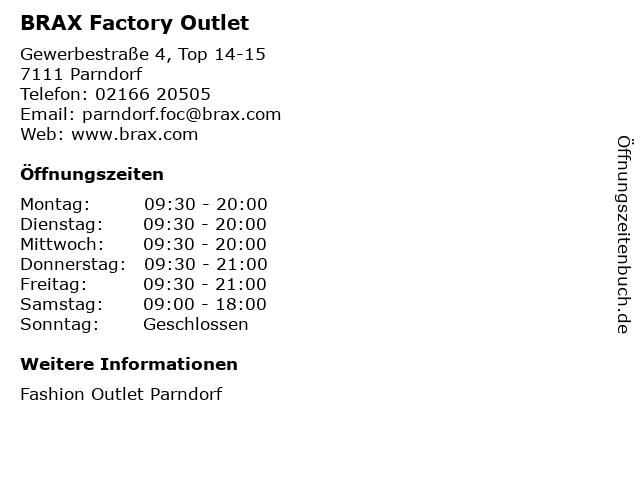 BRAX Factory Outlet in Parndorf: Adresse und Öffnungszeiten