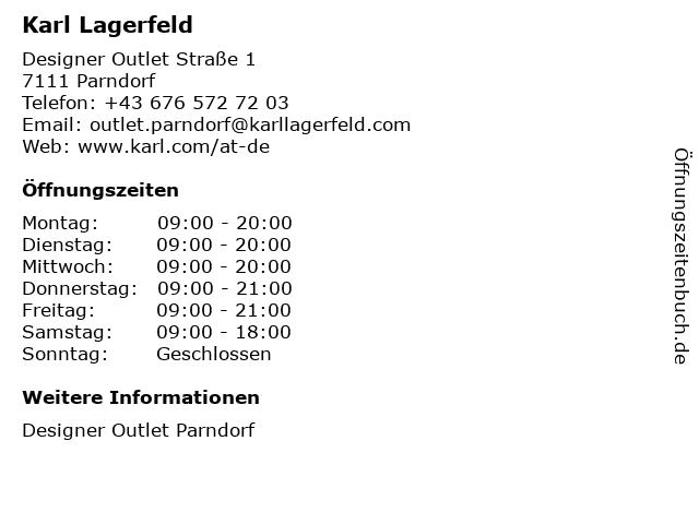 Karl Lagerfeld in Parndorf: Adresse und Öffnungszeiten