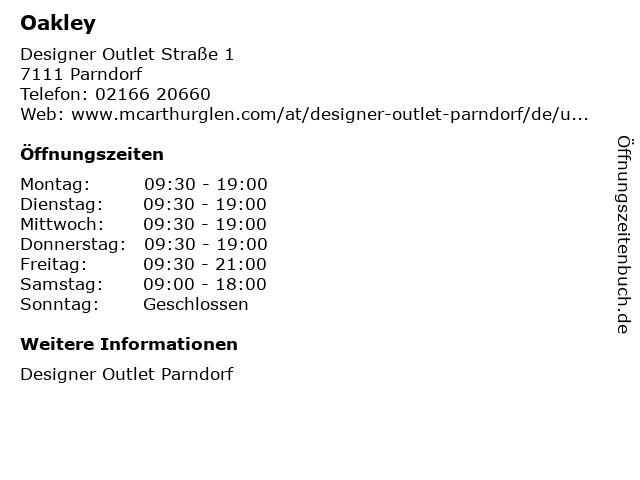 Oakley in Parndorf: Adresse und Öffnungszeiten