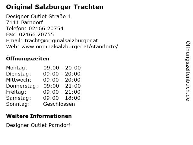 Original Salzburger Trachten in Parndorf: Adresse und Öffnungszeiten