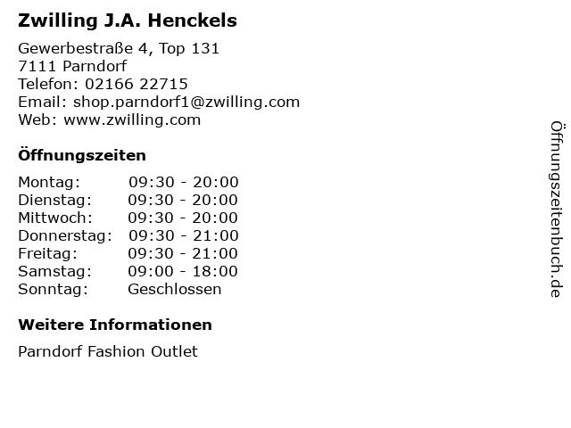 Zwilling J.A. Henckels in Parndorf: Adresse und Öffnungszeiten
