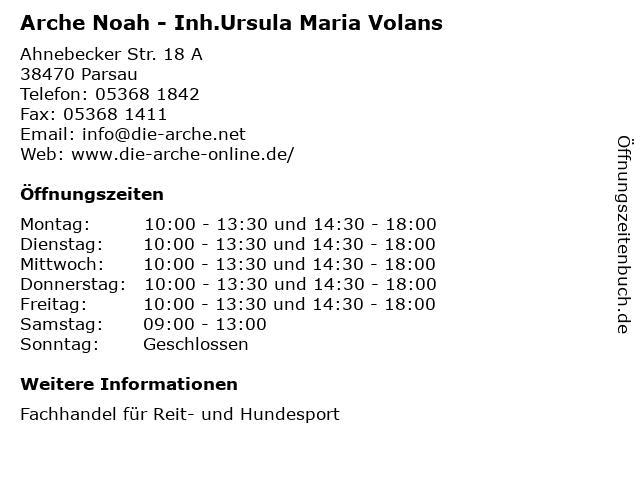 Arche Noah - Inh.Ursula Maria Volans in Parsau: Adresse und Öffnungszeiten