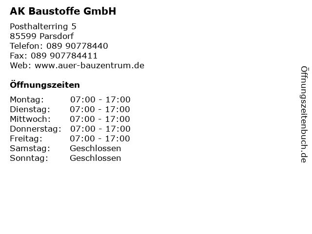 AK Baustoffe GmbH in Parsdorf: Adresse und Öffnungszeiten