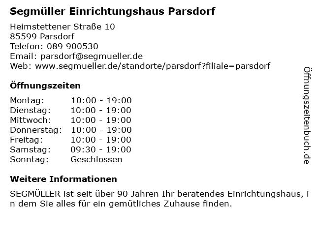 ᐅ öffnungszeiten Segmüller Einrichtungshaus Parsdorf