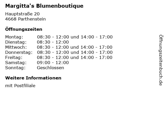 Margitta's Blumenboutique in Parthenstein: Adresse und Öffnungszeiten