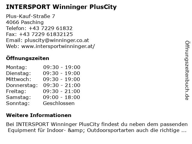 INTERSPORT Winninger PlusCity in Pasching: Adresse und Öffnungszeiten