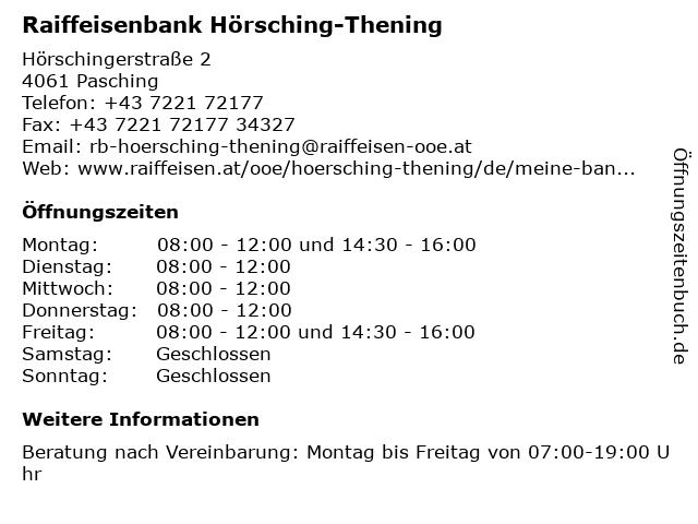 Raiffeisenbank Hörsching-Thening in Pasching: Adresse und Öffnungszeiten