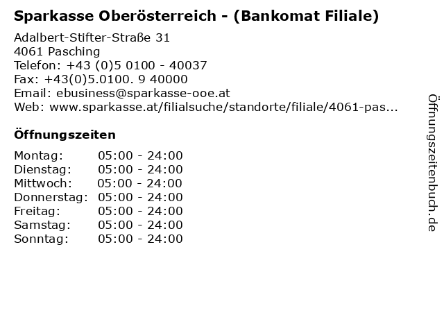 Sparkasse Oberösterreich - (Bankomat Filiale) in Pasching: Adresse und Öffnungszeiten