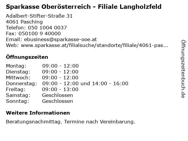 Sparkasse Oberösterreich - Filiale Langholzfeld in Pasching: Adresse und Öffnungszeiten