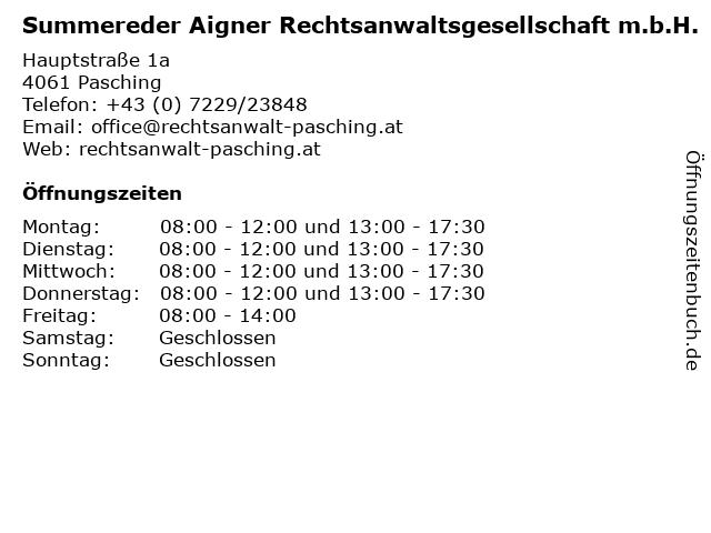 Summereder Aigner Rechtsanwaltsgesellschaft m.b.H. in Pasching: Adresse und Öffnungszeiten