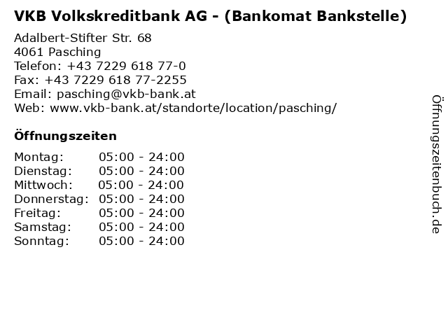 VKB Volkskreditbank AG - (Bankomat Bankstelle) in Pasching: Adresse und Öffnungszeiten