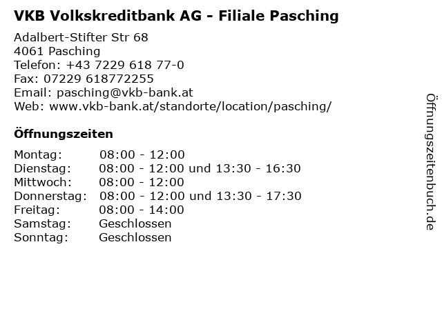 VKB Volkskreditbank AG - Filiale Pasching in Pasching: Adresse und Öffnungszeiten