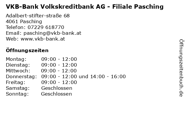 VKB-Bank Volkskreditbank AG - Filiale Pasching in Pasching: Adresse und Öffnungszeiten