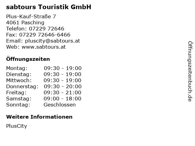 sabtours Touristik GmbH in Pasching: Adresse und Öffnungszeiten