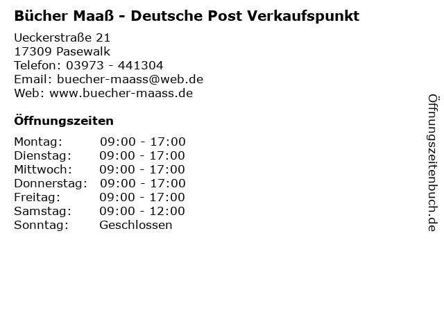 Bücher Maaß - Deutsche Post Verkaufspunkt in Pasewalk: Adresse und Öffnungszeiten
