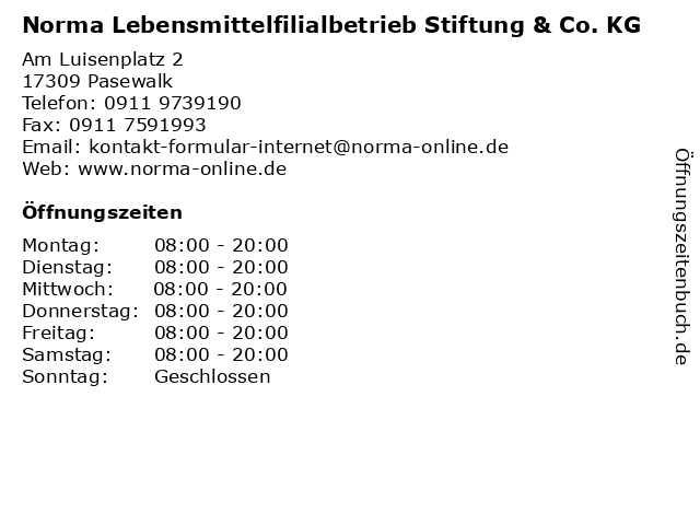 Norma Lebensmittelfilialbetrieb Stiftung & Co. KG in Pasewalk: Adresse und Öffnungszeiten