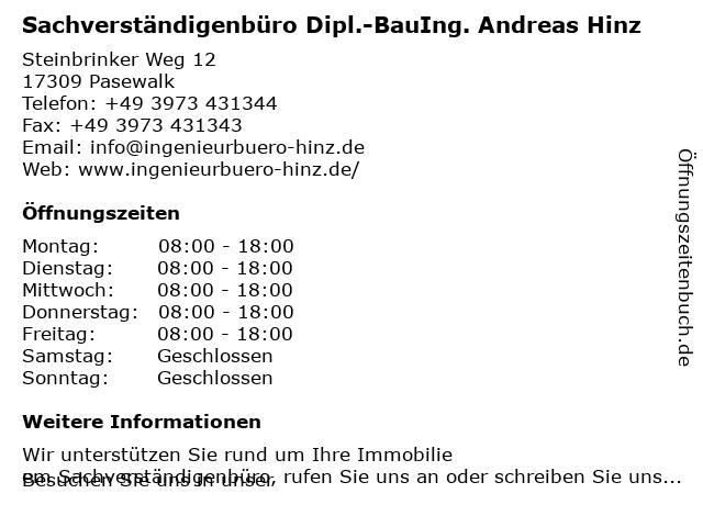 Sachverständigenbüro Dipl.-BauIng. Andreas Hinz in Pasewalk: Adresse und Öffnungszeiten